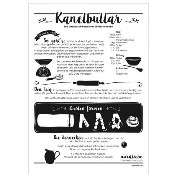 Poster Kanelbullar - Rezept für schwedische Zimtschnecken