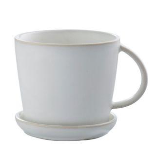 Tasse mit Untersetzer - weiß natur
