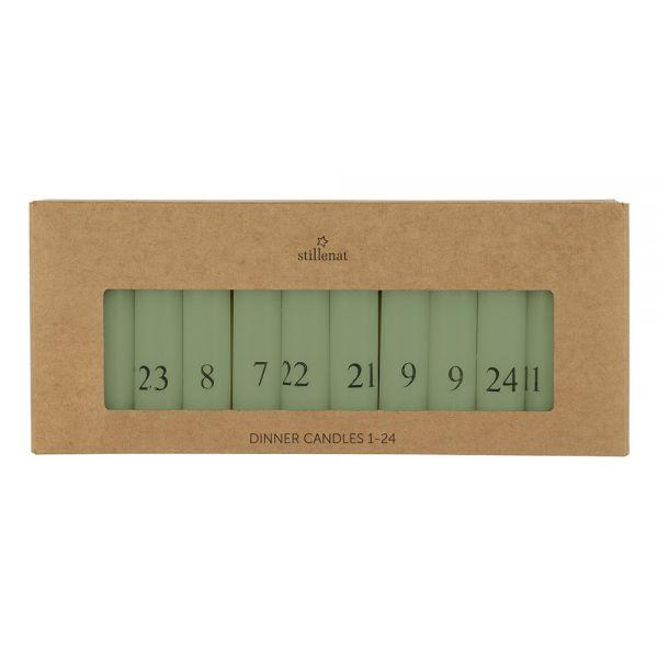 Kalenderkerzen 1-24 - staubig grün/schwarz