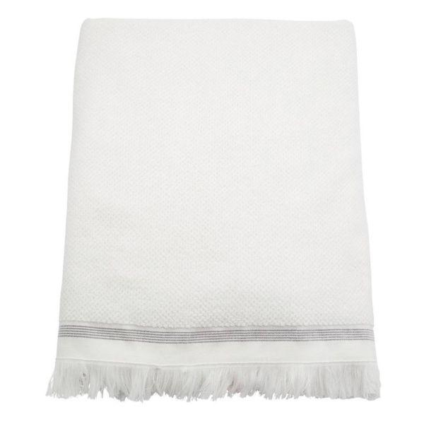 Badetuch - weiß mit grauen Streifen 180 x 100 cm