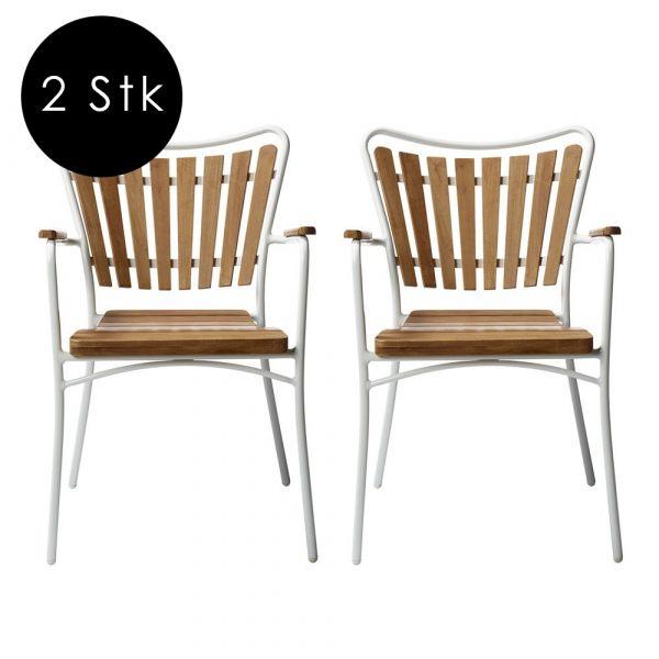 Armlehnstuhl Ellen - weiß 2er Set