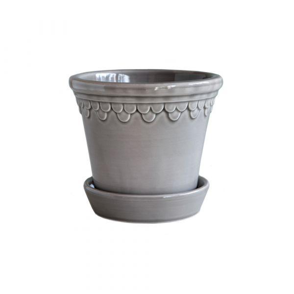 Blumentopf mit Untersetzer Copenhagen - pearl grey Ø 14 cm