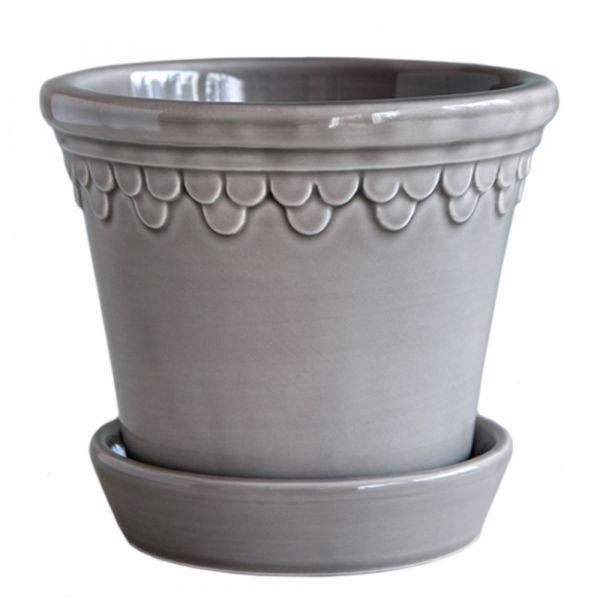 Blumentopf mit Untersetzer Copenhagen - pearl grey Ø 21 cm