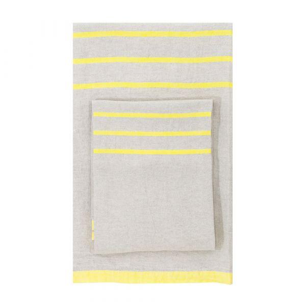 Strandtuch aus Leinen USVA - linen/yellow