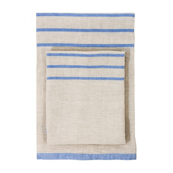 Strandtuch aus Leinen USVA - linen/light blue