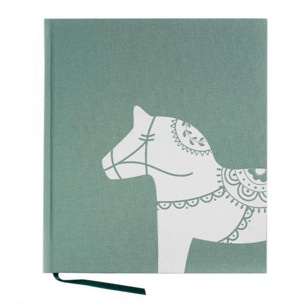 Notizbuch Dalapferd groß - staubiges grün 21 x 24 cm