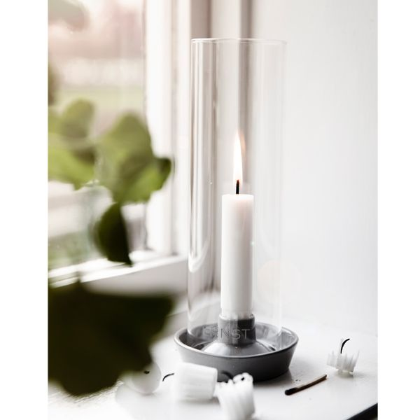 kerzenhalter f r stabkerzen mit glaszylinder weiss. Black Bedroom Furniture Sets. Home Design Ideas