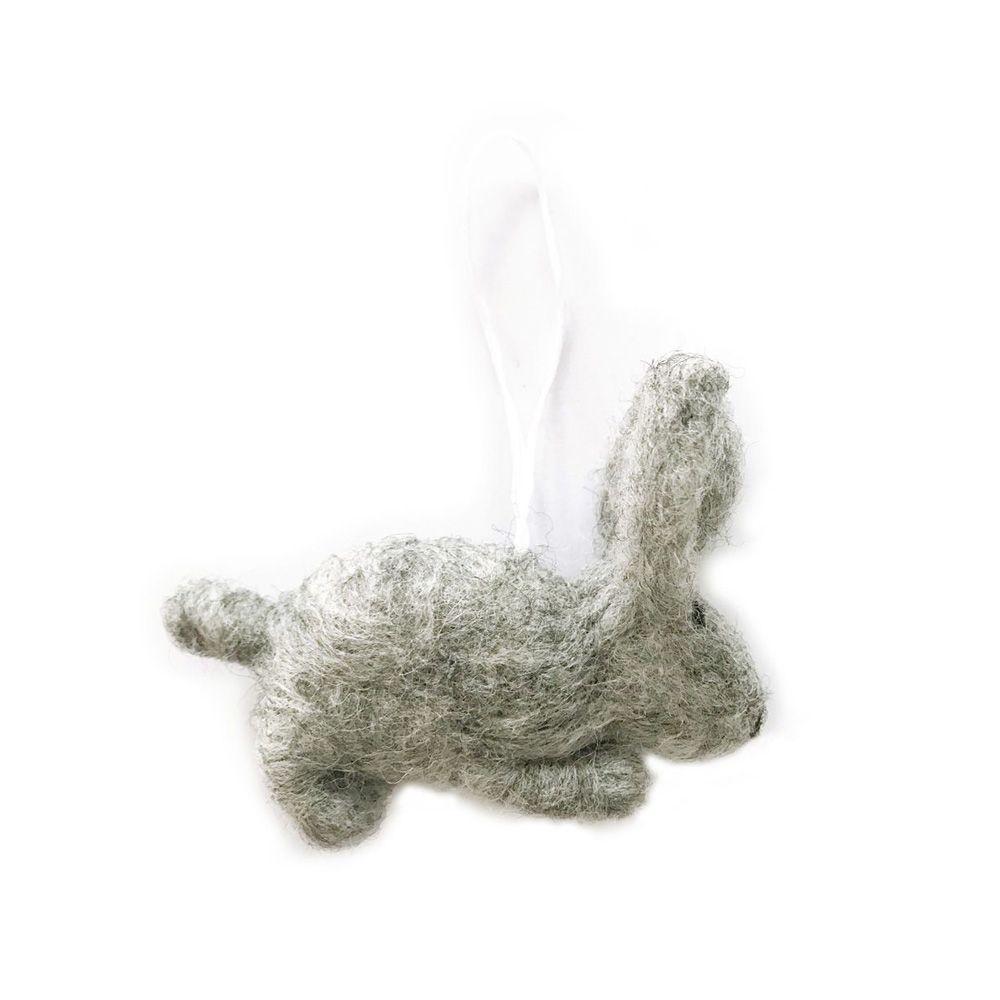Anhänger - Hase gefilzt grau