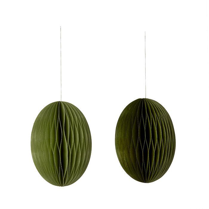 Anhänger Papier-Ei Swirl - grün L 2er Set