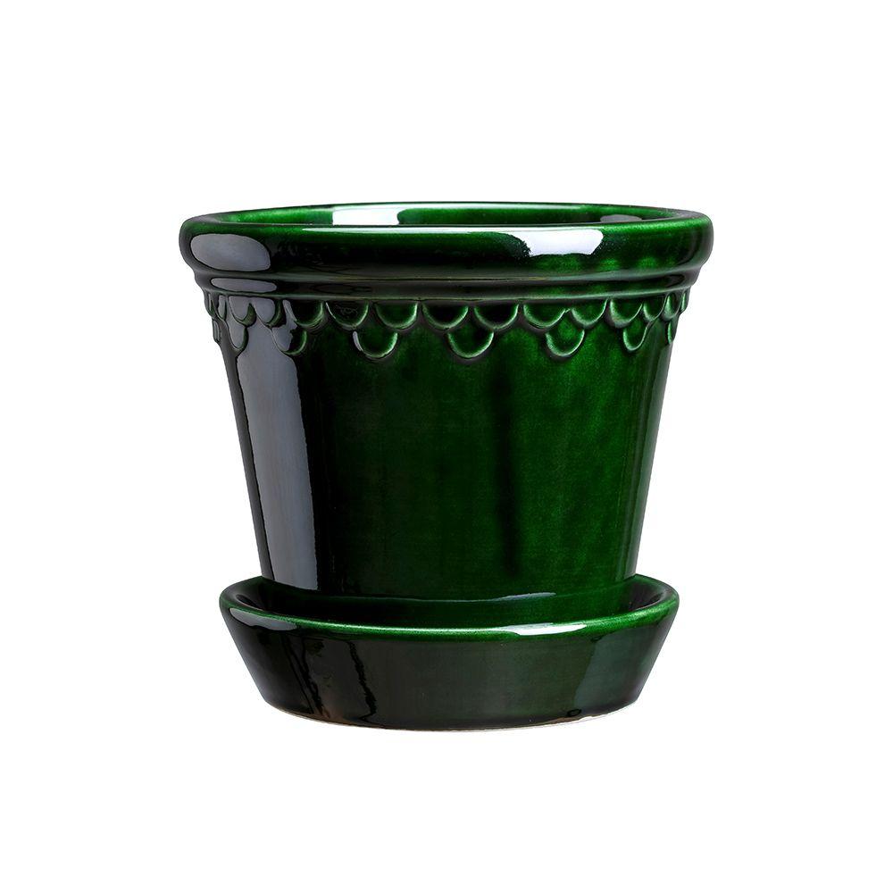Blumentopf mit Untersetzer Copenhagen - grün Emerald Ø 21 cm