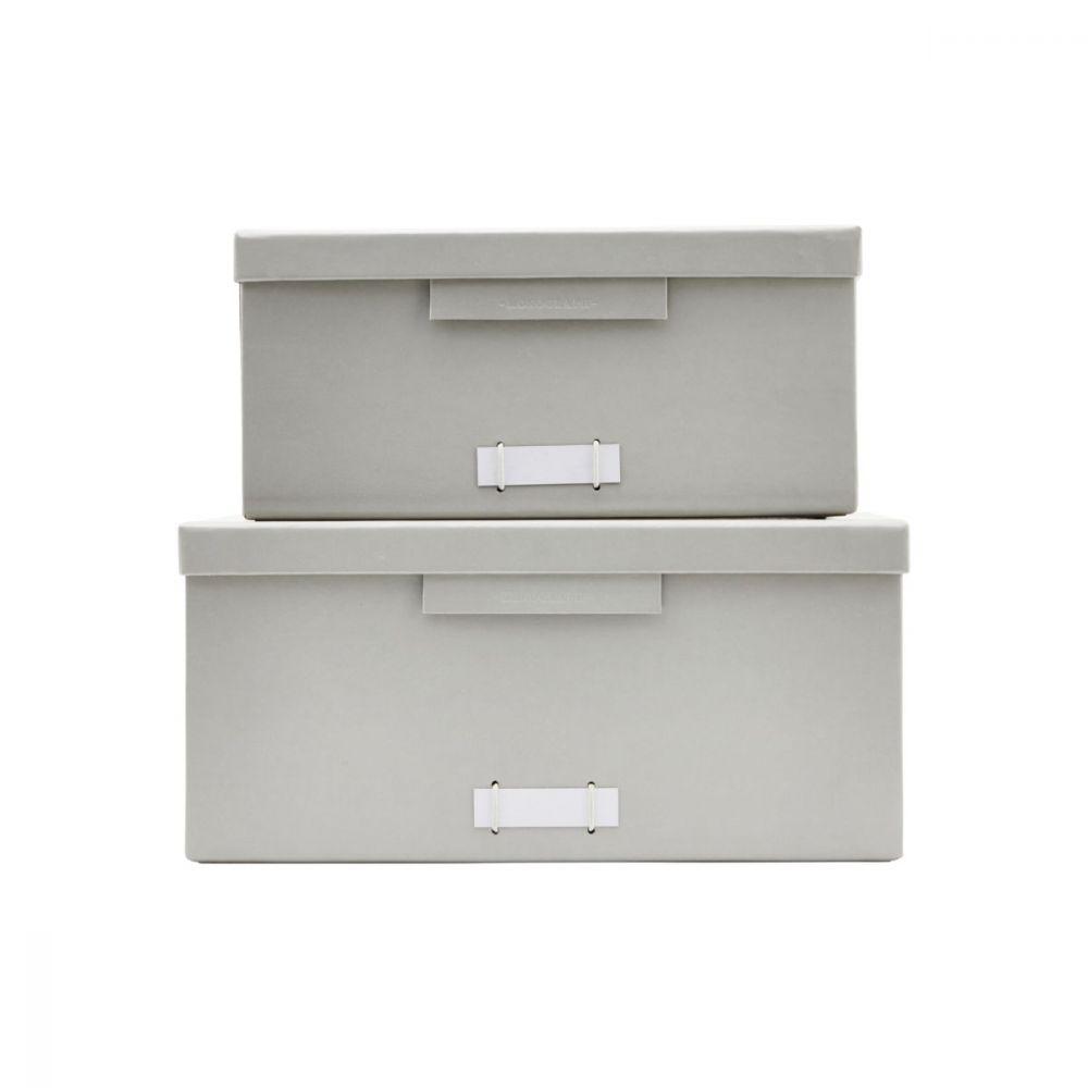Boxen mit Deckel File - grau mittelgroß 2 Stück