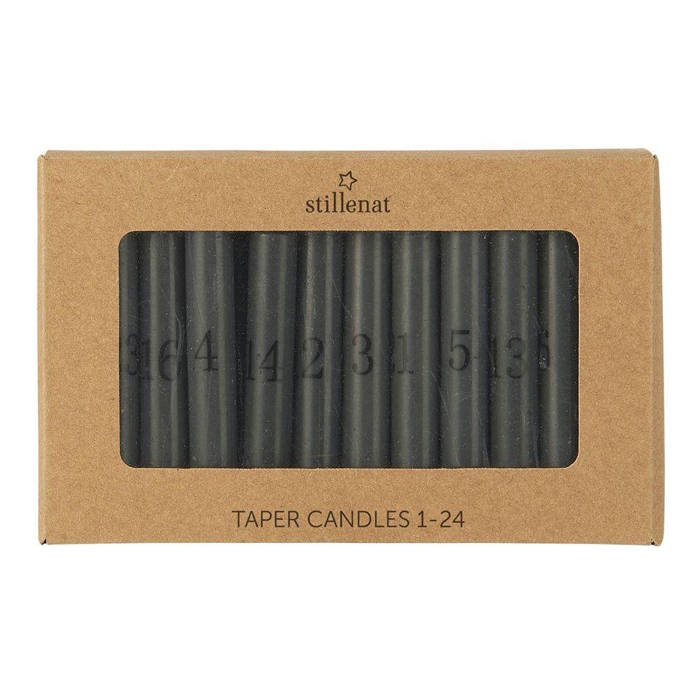 Kalenderkerzen/ Pencil Kerzen 1-24 - dunkelgrau/schwarz