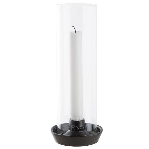 Kerzenhalter für Stabkerzen mit Glaszylinder - dunkelgrau