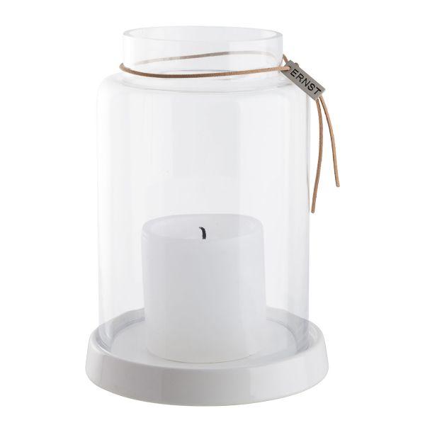 Kerzenhalter mit Glaszylinder - Lederband - weiß