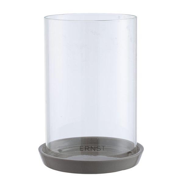Kerzenhalter mit Glaszylinder - groß grau