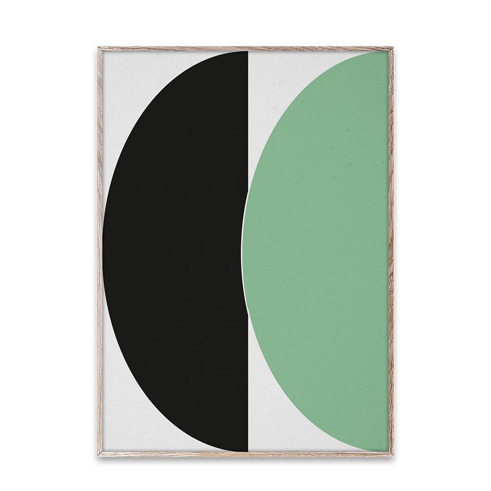 Poster - Half Circles III - Green/Blue - 50x70 cm