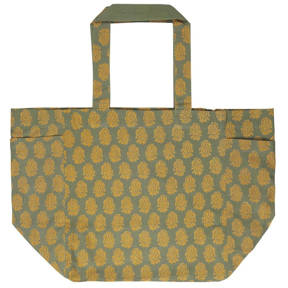Tasche aus Baumwolle - grün/senf