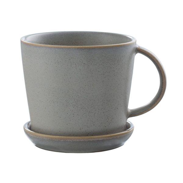 Tasse mit Untersetzer - grau