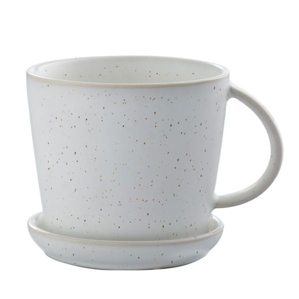 Tasse mit Untersetzer - weiß gesprenkelt