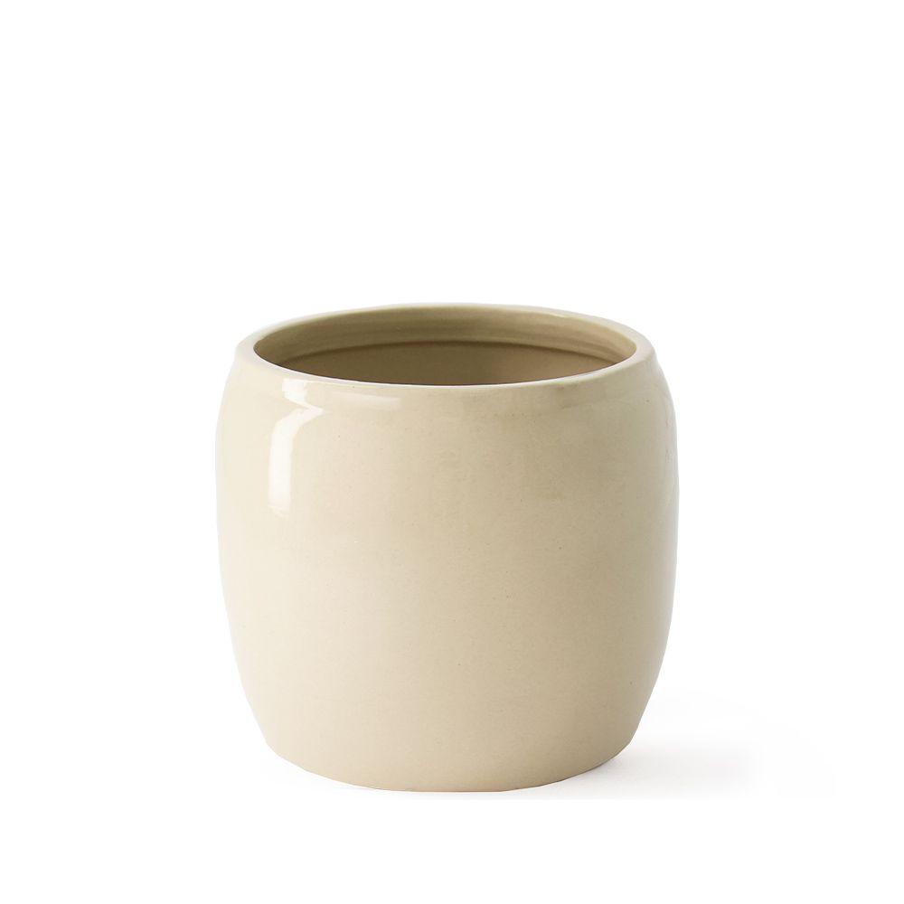 Übertopf aus Keramik - beige Ø 17,5 cm