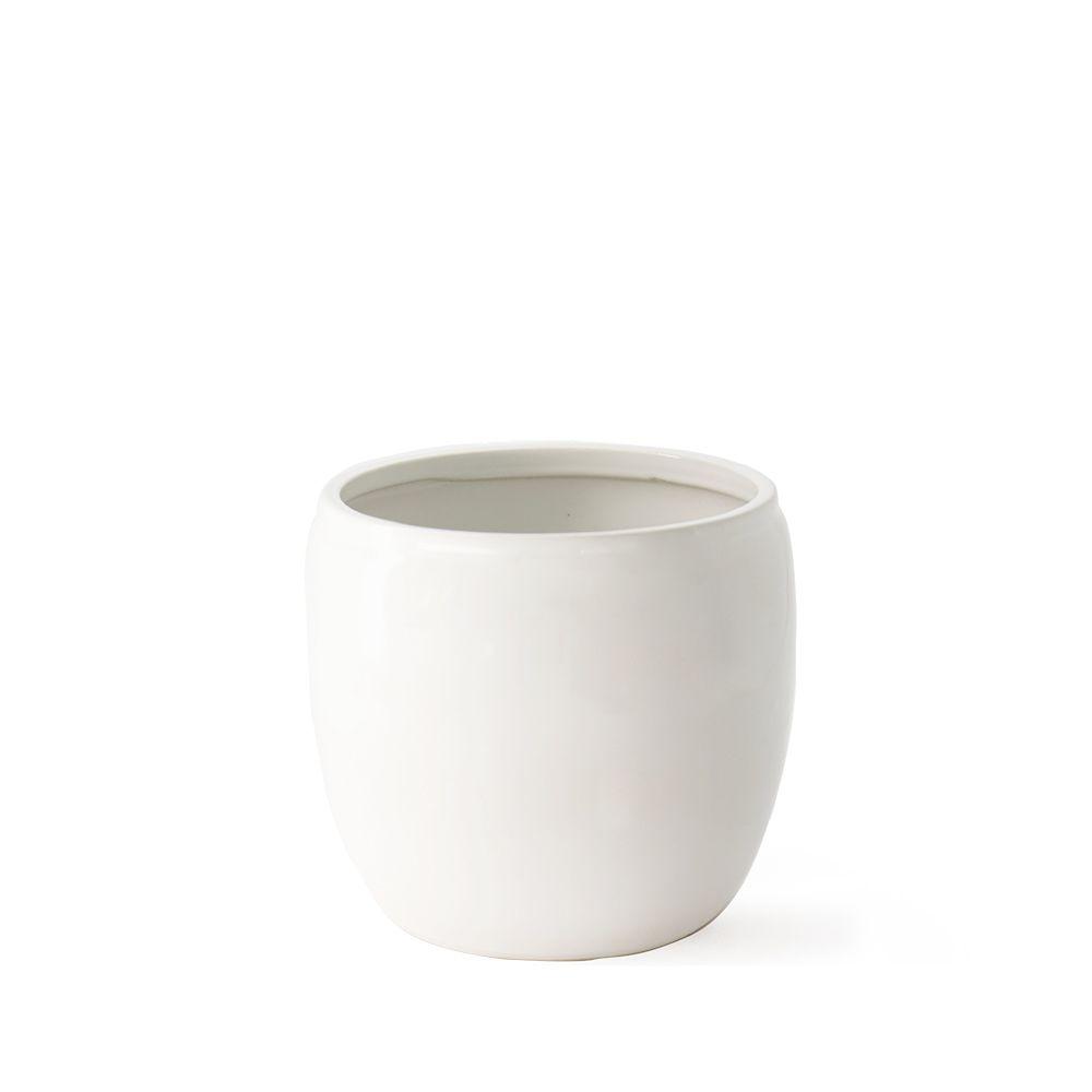 Übertopf aus Keramik - weiß Ø 14 cm