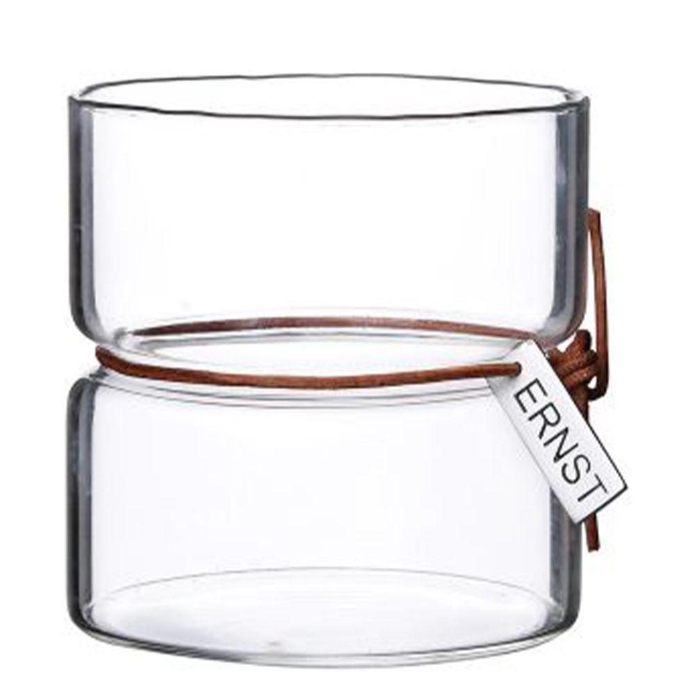 Vase/Kerzenglas mit Lederband - h 8,5 cm