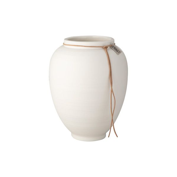 Vase aus Keramik - matt weiß 22 cm